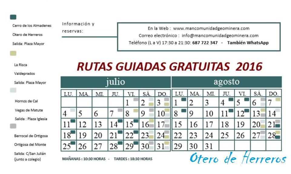 calendario rutas guidas mancomunidad geominera