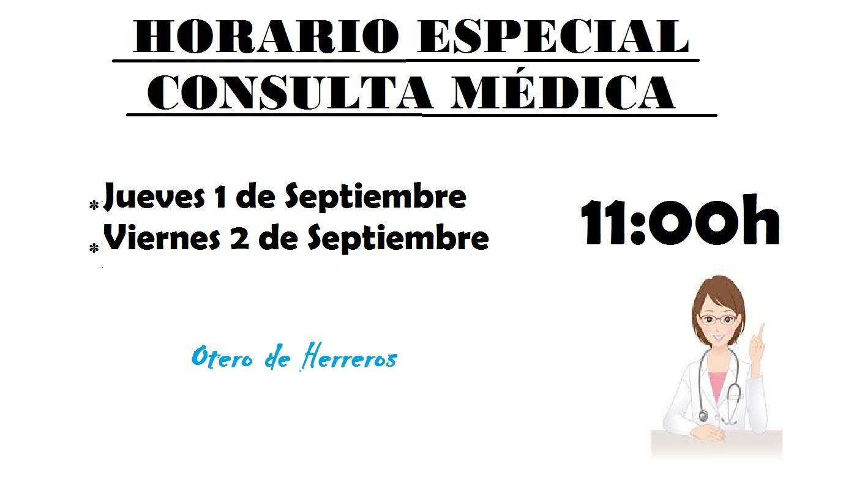 consulta  medica especial 1,2 septiembre